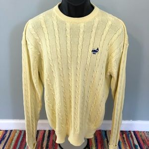 Vintage Sweaters - 1991 Whale Sweater Yellow Knit Pattern Greenwhich